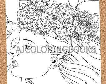 Courteous Ladies - Adult coloring page, Abstract coloring page, Artistic coloring page, Instant Digital Download, PDF Coloring Pages
