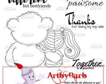 Pawsome Pals, cute line art, digital stamp, clip art, wordart, sentiment, to colour, to craft, greeting card, craft make, cute digi