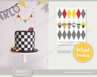 Race - Time Races - Printable Flag Bunting - Race Cake Topper - Instant Download - Time Race Birthday Collection by Tania's Design Studio