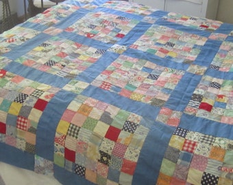 """Colorful Vintage One-Patch Blue & Multi Feedsack Quilt TOP 68X68"""""""