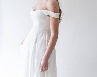 Bardot wedding Dress, Boho wedding dress, off the shoulder wedding dress,  wedding dress, ivory  wedding dress, bohemian wedding dress, silk