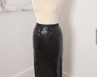 Vintage Victor Costa Long Black Sequin Skirt with Thigh High Slit