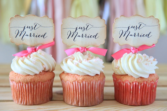 Wedding cupcake toppers Just Married Cupcake toppers Wedding