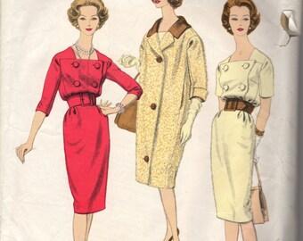 Bust 32-1959 Misses' Dress and Coat Vogue Paris Original 1461 Designed by Patou Size 12  Bust 32