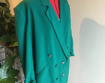 Turquoise green & gold double breasted blazer