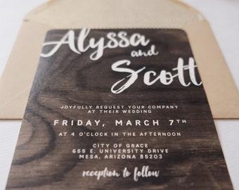 Modern Woodland Calligraphy Wedding Invitation Suite—Printed Sample