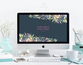 Desktop Wallpaper Watercolor Floral | Desktop Background | Claude Monet Quote | Instant Digital Download | Navy and Bright Flowers