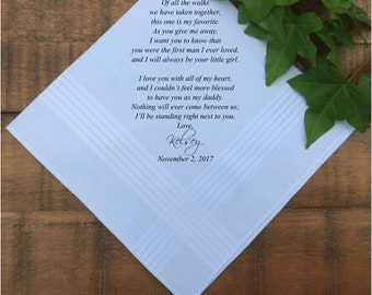 Father of the Bride Handkerchief • Father of the Bride Gift • Father of the Groom Gift from Bride • Wedding Keepsake PRINTED hanky(H 032)