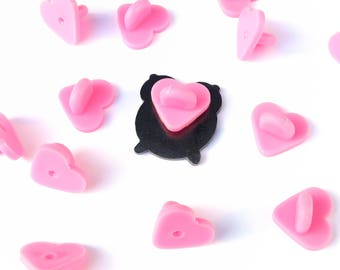 Heart rubber backs for enamel pins, lapel pins, rubber clasps, pink backings, rubber clasp, pin backs