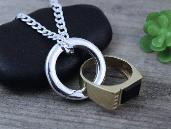 Sterling Silver Man Ring Holder Necklace mens wedding ring