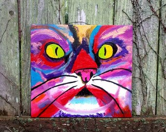 Colorful Abstract CAT Face OIL Painting ART By Scott D Van Osdol Painted On Reclaimed Wood Kitty Kitten Tiger Animal Pet 11.25x12 Modern