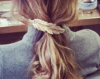 Gold / Silver Shiny Leaf feather leaves Shape Metal Hair Clip Hair Accessories