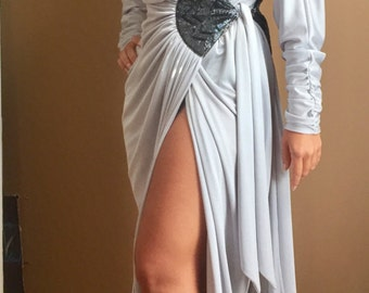 1980's Exquisite Silver Wrap Dress w Beaded Detail