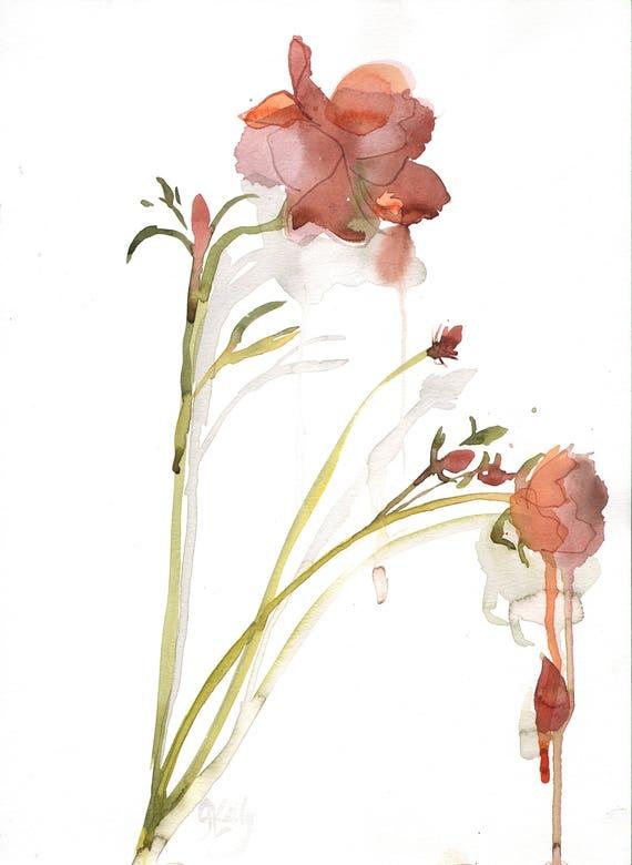 Watercolor flower painting-Rusty Ranunculus- original by Gretchen Kelly