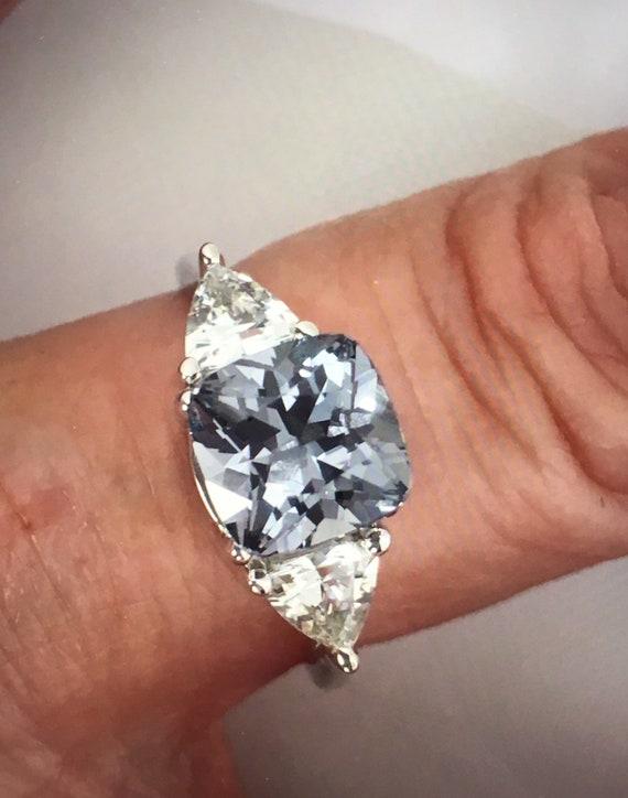 Platinum Gray Spinel White Sapphire Three Stone Ring