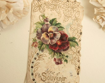 Antique French souvenir / best wishes card. 1915.