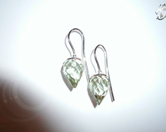 silver earrings with delicate prasiolite