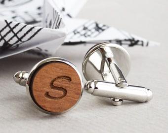 Personalized Cufflinks - Custom Cufflinks - Personalized Custom Wood Initial Cufflinks , Cuff Links with silver surrounding