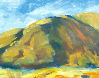 original painting landscape oil plein air on canvas 9x12 Looming Hill