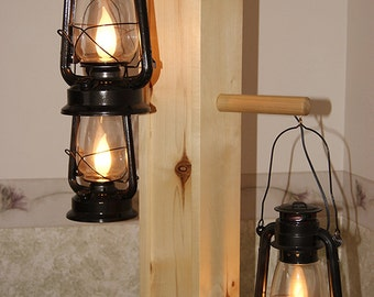 Rustic Aspen Wood Floor Lamp With Dimmable Electrified Kerosene Lanterns,  One Of A Kind.