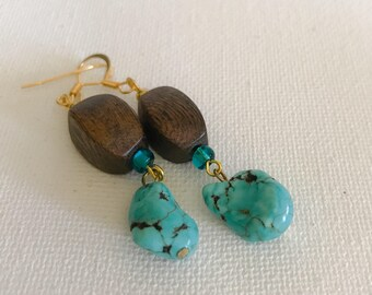 Dangle earrings /Turquoise earrings/wood earrings /womans fashion earrings