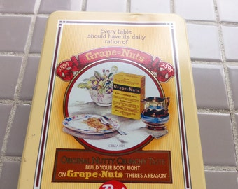 Grape nuts tin, Cereal tin, Post Cereal Grape Nuts Vintage Tin, 1980's prop