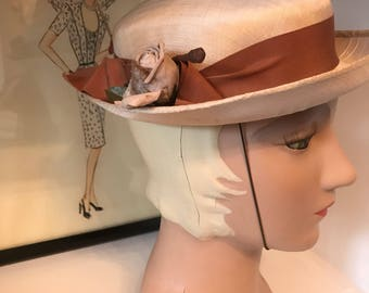1940s hat vintage hat straw hat boater hat brown hat summer hat 1950s hat breton hat vintage millinery hat with flowers spring hat
