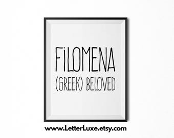 Filomena Name Meaning Art - Printable Baby Shower Gift - Nursery Printable Art - Digital Print - Nursery Decor - Typography Wall Decor