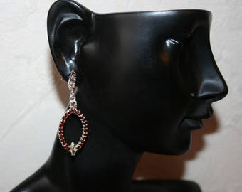 Sterling Silver earrings set with genuine Citrine and Garnet Sterling Silver 925/1000