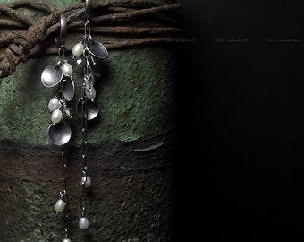 Freshwater pearls earrings Swarovski crystal Sterling silver Oxidized Handmade Long earrings