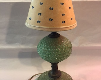 Vintage Green Hobnail Lamp With Paper Shade