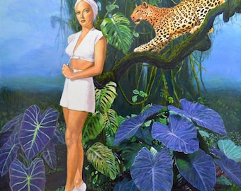 Original Jungle Painting on canvas leopard kitsch art Lana Turner pulp retro 1940s surreal Hollywood paintings noirscapes by Jane Ianniello