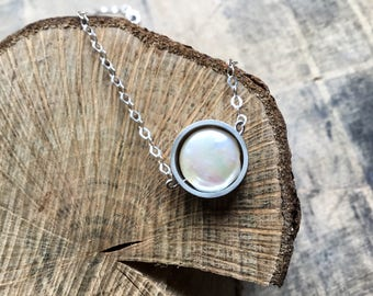 Sterling silver pearl circle necklace, coin pearl necklace, freshwater pearl pendant, circle pearl pendant, long pearl necklace