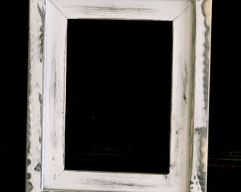 4x6  Stacked pine distressed rustic picture frame...white with black undercoat...HANDMADE