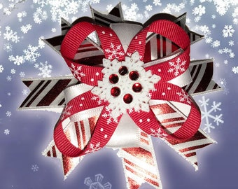 Snowflake Striped Christmas Bow