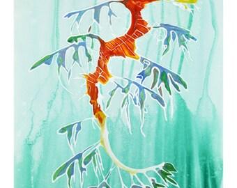 Leafy Sea Dragon Watercolor Art Print 8x10