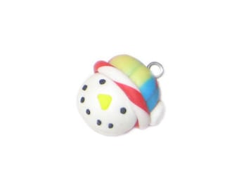20 x 22mm Snowman Face Polymer Clay Pendant