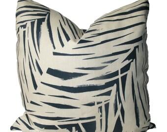 Decorative Designer Kravet Blue Leaf Pillow Cover, 18x18, 20x20, 22x22 or Lumbar,  Throw Pillow