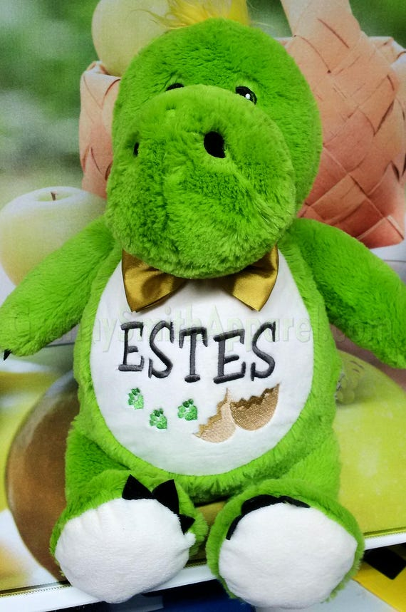 Green dinosaur plush custom animal.  Embroidered, personalized tummy. Memorial, Newborn, or a gift for someone left behind. Stuffed animal