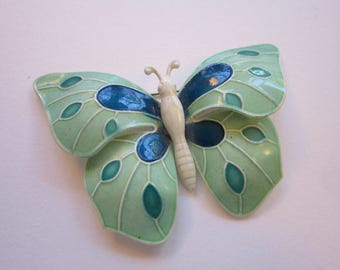 vintage BUTTERFLY brooch - made in W. Germany - figural butterfly pin - green and blue