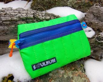 Puffy Phone Pouch - Hi Viz Green with Blue Zipper