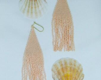 pearl peach handstitched seed bead mermaid earrings