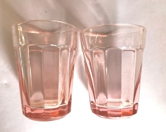 Vintage Pair Anchor Hocking  Pillar Optic  Pink Panel Shot Glass-Great Condition-1940's- 1.5 ounce