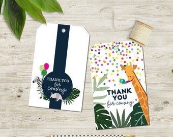 Party Animal Printable Thank You Swing Tags