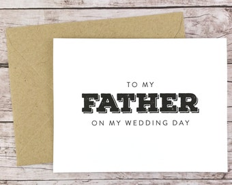 To My Father On My Wedding Day Card, Father Card, Wedding Card, Father of the Bride, Father of the Bride Gift  - (FPS0039)