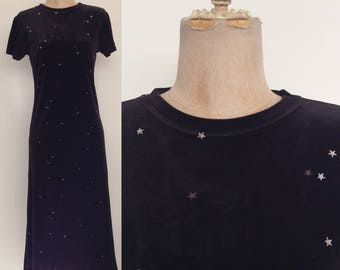 1990's Black Velvet Star Print Midi Dress Size Small Medium by Maeberry Vintage