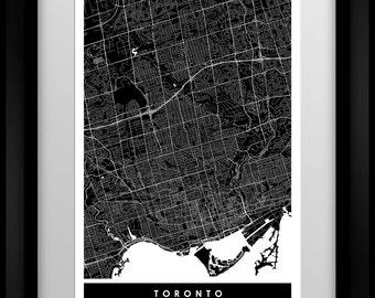 Toronto - Ontario - Canada - City Minimalist Map Art Print - Black and White - Poster