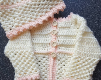 Handmade crochet mattinee jacket set