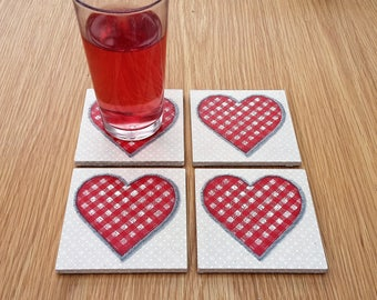 red heart coasters - decorative coasters - red kitchen coasters - heart home decor - best selling items - valentines gift - hostess gifts