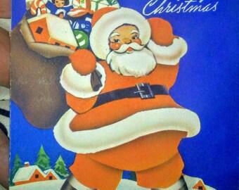 Vintage 1938 Whitman Santa Whimsical  Christmas Card